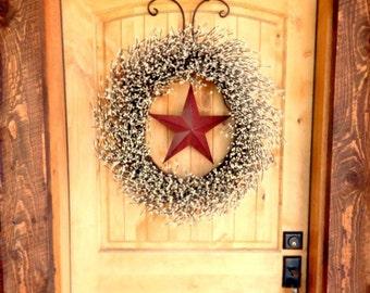 PATRIOTIC Summer Wreath-4th July Wreath-Large Door Wreath-Primitive Country-Texas Star-Western Decor-Scented Wreaths-Custom-Choose Scent
