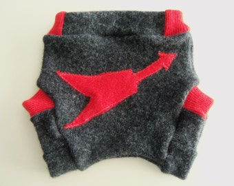 0-6 months - Flying V Guitar Recycled Wool Soaker Diaper Cover or Shorties for Your Rock'n'Roll Baby