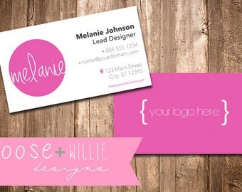 Customizable Business Cards - Choose Colors/Personalize - front & back