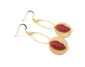 Burgundy and gold earrings