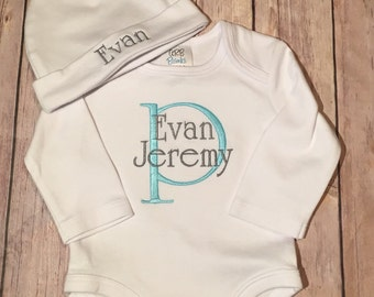 Embroidered baby boy coming home outfit - baby's first outfit - bodysuit and cap - Newborn/Baby shower gift set - baby boy outfit