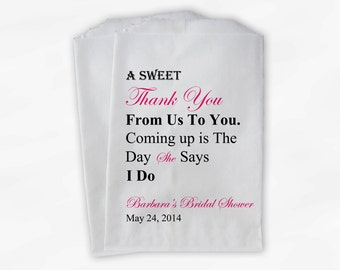 Sweet Thank You Bridal Shower Candy Buffet Treat Bags - Hot Pink Personalized Favor Bags with Name and Shower Date - Set of 25 Bags (0071)