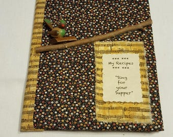 Handcrafted Recipe Holder with Wooden Bird