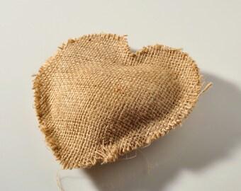 Handmade burlap heart shape