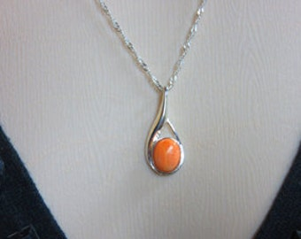 Spiney Oyster Necklace - Orange Spiney Oyster and Sterling Silver Necklace - One of a Kind Necklace