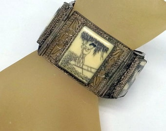 Chinese Export Silver Bracelet - Lovers Story Bracelet - 3 Engraved Scenes - Antique Bracelet - 6 - 7 Inch Wrist