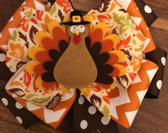 Girls Thanksgiving Turkey bow!