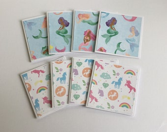 Mini mermaid note cards, unicorn cards, bright mini card set of 8, gift cards, thank you cards