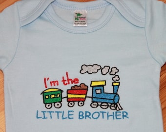 Personalized Embroidered Baby Onepiece Bodysuit - I'm the Little Brother Train