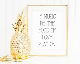 If Music Be The Food Of Love Play On Shakespeare Poster Print Wall Art Decor