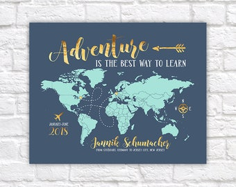 Study Abroad Map, Gift for Foreign Exchange Student, Adventure Quote, Studying overseas, World Map Gift, Hosted Student Gifts | WF601