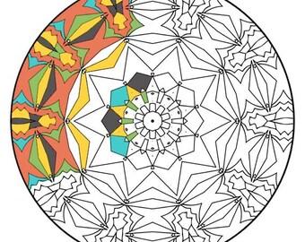 Mandala Coloring Pages - The Heceta - Mandala Coloring Page Printable, Adult Coloring, Digital Coloring, Mandala Art