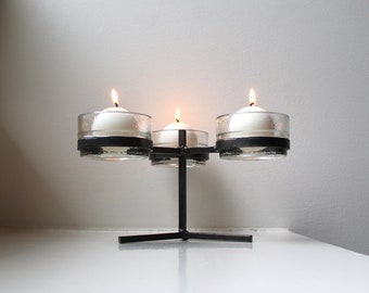 Scandinavian Modern Iron & Glass Candle Holder Erik Höglund Style Swedish Art Glass Candelabra Sweden
