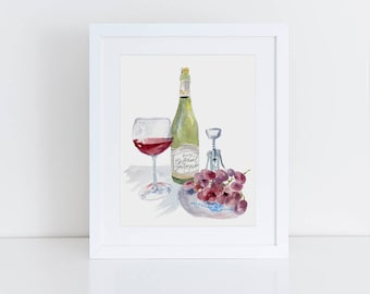 Wine Wall Art, Happy Hour Watercolor, Cabernet Savignon art, Kitchen Wall Art