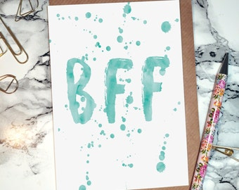 Best friends forever 'BFF' // Blank A6 Card // Typography