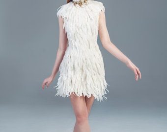White Feather Couture High Collar Knee Length Bridal Wedding Dress