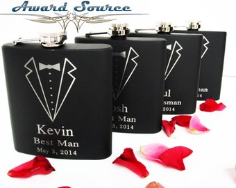 Groomsmen Gift, 5 Personalized Engraved Tuxedo Flasks, Wedding Party Gifts, Gifts for Groomsmen, Wedding Flask