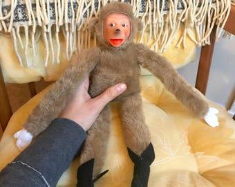 Handmade Monkey Plush- made with vintage parts.