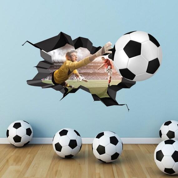3D Fußball Wandtattoo Geknackt Farbe Wall Art Sticker