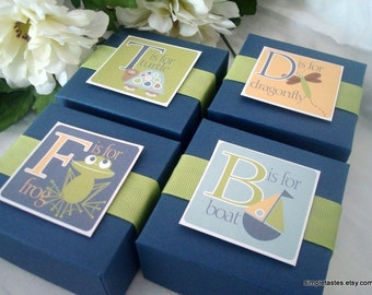 Alphabet Favor Boxes, Navy and Lime, Set of Ten