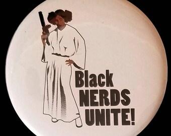 Black Nerds Unite! Pin back Button