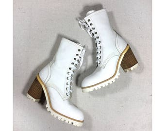 sz. 6   Russell & Bromley 90s vintage white combat boots / vintage white boots / leather chunky lace up boots / 90s white chunky heel boots