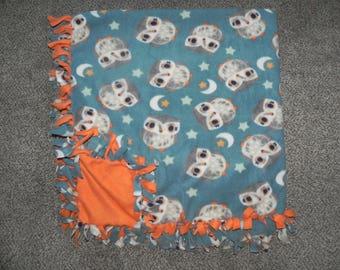 "Hand Made No Sew Fleece Owls Blanket 59"" x 60"""