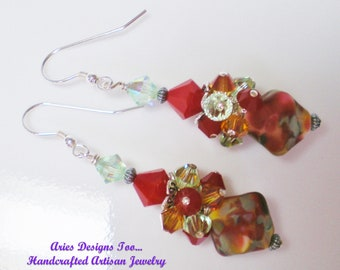 Rust, Topaz and Green Bicone Shaped Lampwortk Cluster Earrings