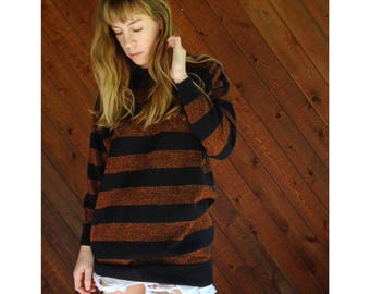 Slouchy Metallic Stripe Knit Pullover Sweater - Vintage 80s - M