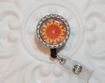 Flower Badge Reel - Nurse Badge Reel - Flower Retractable Badge Holder - Badge Lanyard - Id Badge Reel - Name Badge Holder