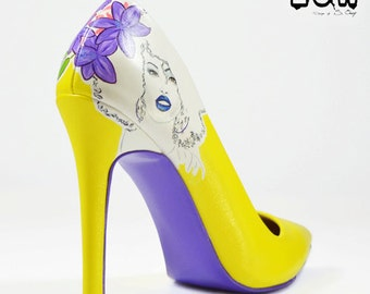 LILYLETTO - yellow stiletto, custom fashion shoes, hand painted, yellow, purple, lily, floral, high heels