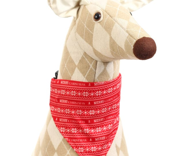 Pet Bandana - Red and White Merry Christmas - Pet Scarf - Collar Cover - Christmas