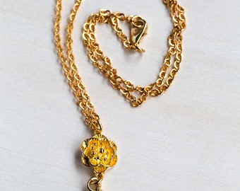 Gold Plated 3D Flower Drop Necklace with Sunshine Gold Swarovski Crystal & Gold Plated Trace Chain/Handmade