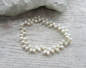 White Freshwater Pearl Bracelet - Stretchy Bracelet - Natural Pearl Jewellery - Elasticated Pearls #12