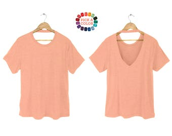 Backless Tee - Oversized T-shirt, Crew Neck Tshirt, V-back Top, Slouchy Shirt in Heather Peach or Pick a Custom Color - Women's Size S-3XL