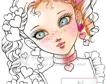 Digital Stamp Instant Download - Valentine Girl with Freckles and Hearts - Valentine's Day Line Art for Cards & Crafts by Mitzi Sato-Wiuff