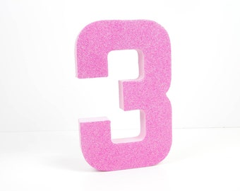Pink Number 3 for Birthday Photoshoot - Third Birthday - Party Decor - Princess Party - Pretty in Pink - Big Number for Birthday Party