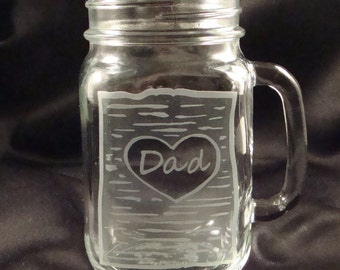 Personalized Etched Wine Glass - Rustic Redneck Wine Glass - Personalizaed Mason Jar Mug - Gift for Dad - Father's Day Gift - Custom Beer