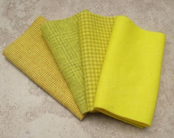 """Hand Dyed Felted Wool, LEMON DROP, Four 6.5"""" x 16"""" pieces in Clear Yellow, Perfect for Rug Hooking, Applique and Crafts"""