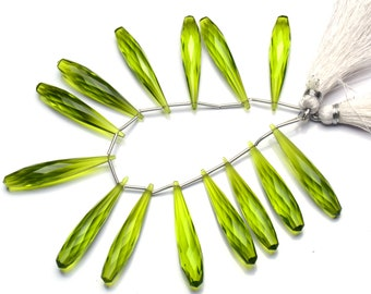 Olive Green Peridot Color Hydro Quartz Faceted 35x7MM Approx. Long Teardrop Shape Briolettes Beads 6 Inch Full Strand Super Fine Quality