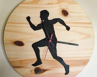 """Wooden Wall Clock """"Runner"""""""