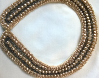 vintage embellished collar with faux pearl and beads