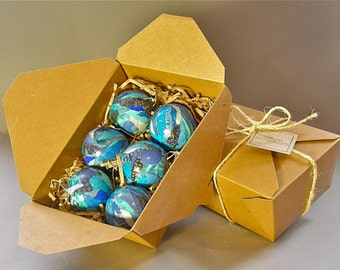 Handmade, Paper Mache Christmas Tree Ornaments Sapphire Blue 2 & 1/2 inch Set of 6- Art for Trees!