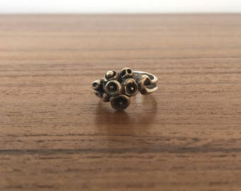 Vintage Brutalist 1960s Sterling Silver 925 Ring Size 8 Free US Shipping