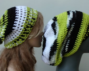 SALE Set of 2 slouchy Beanies, couple siblings friends 1 Dread Tam hat 1 small Slouch snood lime green white black woman beanie, man beanie