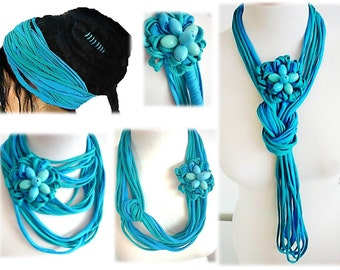 Turquoise Scarf Necklace Handmade Girls Summer Scarves Multistrand Infinity Scarf Pin Brooch Dreadlock Headband Hair Clip Hair Wrap