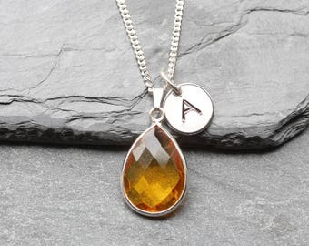 Citrine Necklace  Sterling Silver - November Birthstone Necklace - November Citrine Jewelry Jewellery - Personalized Initial Necklace - B31