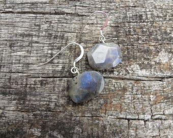 Large Natural Labradorite Faceted Nugget Gemstone Earrings, Grey Blue Gemstone Earrings