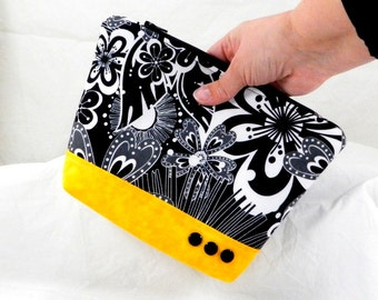 Bridesmaid Gift, Cosmetic Bags, Handmade Clutch, Black Pouch