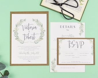 Wedding invitations etsy uk quick view watercolour greenery eucalyptus wedding invitations junglespirit